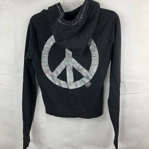 Victoria's Secret Black Peace Sign Hoodie Pink Sm